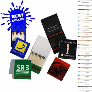 Zündholz- / Streichholzbriefchen 50 x 55 mm  Preise inkl. Druck pro 1000 Stk. Inhalt 2 Reihen à 10 (Artikelnr.: 7700.00)